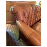 15. Tufted Rolled Back Leather Two Seat Sofa, 72 x 39 x 37