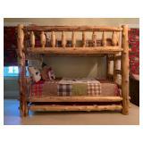 12. Cedar Log Bunk Bed, SET. Set includes bunk beds, 87 x 48 x 71, PLUS four drawer dresser, 44 x 24