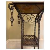 30. Wrought Iron Stand with Marble Top, 17 x 17 x 3230. Wrought Iron Stand with Marble Top, 17 x 17