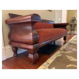 20. Antique Empire Sofa, 84 x 26 x 33. Upholstry has minor wear, wood shows cracks, only chip shown