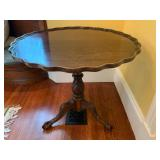 22. Pie Crust Table, 32 x 29, visible scratches to top, see pictures
