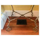 24. PAIR, Slate Top Wrought Iron Base Stands, 29 x 22 x 30