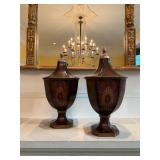 """28. PAIR, Faux Inlay Lidded Containers, 19""""h"""