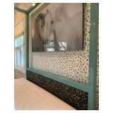 7. Modern Canopy Bed in Teal with Teal Leopard Print Inset Headboard, 85 x 61 x 80