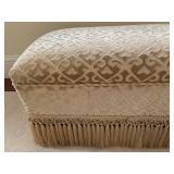 5. Large Velvet Damask Bench with Fringe, 37 x 18 x 19h