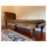 33. Antique Chaise with Carved Frame and Original Velvet Upholstery, 75 x 27 x 32, cushion is hard f