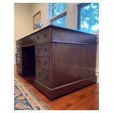 34. Antique Double Pedestal Desk with Leather Top, 60 x 32 x 29.