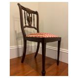 36. Inlaid Shieldback Side Chair, reupholstered