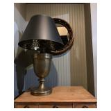 42. Oversized Brass Lamp with Marbled Shade