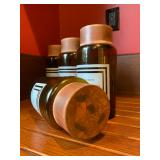 """41. Glass Storage Jars with Fitted Copper Tops, Set of FOUR, 9""""h"""