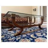 Hurtado, Made in Spain, Neoclassical Glass Top Coffee Table and End Table Set