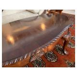 Mahogany Carved Edge Coffee Table with Center Medallion Inlay
