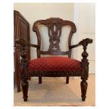 Carved Frame Armchair, Pair Available