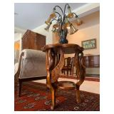 Three Leg Accent Table with Carved In Flight Swan, Pair Available