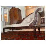 Fainting Couch with Carved Frame