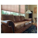 Three Piece Leather Living Room Set with Nail Head Trim from Leather Master
