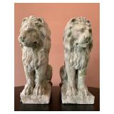 SHOP NOW @ HuntEstateSales.com! Rare 18th Century Carved Stone Figures, Seated Lions