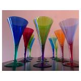 SHOP NOW @ HuntEstateSales.com! Hand Blown Trumpet Shaped Multi-Colored Champagne Flutes, Set Of Twe