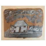 SHOP NOW @ HuntEstateSales.com! Alfred Wallis, White Houses, Oil On Card