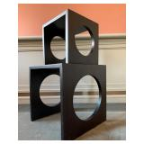 SHOP NOW @ HuntEstateSales.com! Cube Nesting Tables With Large Circle Cut Out, Set Of Two
