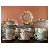 SHOP NOW @ HuntEstateSales.com! MacKenzie Childs Original Taylor Series Dinnerware, Service For 12