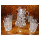 American Brilliant Cut Glass Water Set; ABCG pitcher and cut tumblers