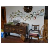 China and hand painted plates; buffet; dining set
