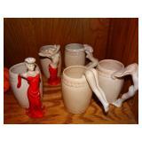 Dorothy Kindell pottery Naughty Nude mugs
