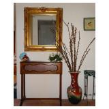 Mirror; planter; vases; stands