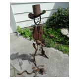 iron cowboy yard art