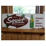 1930s 1940s Squirt soda advertising sign; corner wear