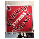 1920s Railway Express Agency porcelain advertising sign