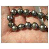 Natural Tahitian pearls close up