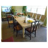 Dining table and suede upholstered chairs
