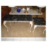 Two marble-top tables sofa, lamp