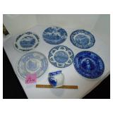 Blue and white souvenir plates and more