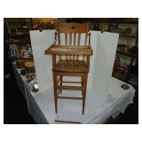 Oak high chair antique