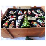 Wooden crate of Christmas ornaments with certificate of authenticity by Thomas Pacconi,