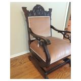 VINTAGE EASTLAKE Upholstered Victorian Platform Rocker Rocking Chair OAK