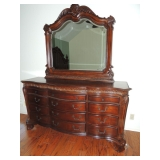 Cortina Bedroom Set King bed (HB, FB, side rails), 2 bedside tables, Armoire/Hutch, 9 DRAWER DRESSER