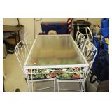 Metal Glass Top Table & Chairs