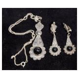 Victorian .800 Silver and Onyx Clip-On Earrings and Pendant