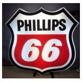 """Zimmerman Sign Co. Phillips 66 LARGE Lighted Sign, 44""""W, 43""""H, Works"""