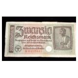 WWII Nazi Germany 20 Reichsmark Bank Note, Coins Qty 7, and Hitler Third Reich Swastika Nazi Stamps