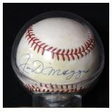 Joe DiMaggio Authentic Autographed Baseball With COA On Stand