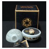 Fossil Star Wars Death Star Watch Set Gold LE With Lapel Pin Li-1569 In Death Star Case, Unused