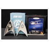 Fossil Star Trek Enterprise Watch Limited Edition Li1407 With Medallion In Star Fleet Logo Case, Unu