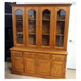 "China Cabinet, 3 Shelves, 4 Drawers, 4 Doors to Single Base Compartment 60""W x 64.5""H x 18""D"
