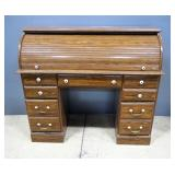 "Rolltop Desk, 5 Drawers, Some Cosmetic Flaws, 48""W x 42""H x 20""D"