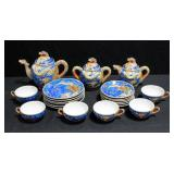 "Moriage Dragonware Tea Set With Lithopane Images In The Tea Cups. 6 Tea Cups, 6 Saucers 5.5"" Dia., 6"
